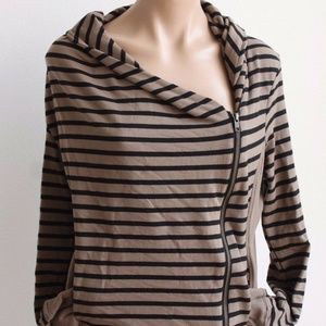 Caslon Women's Striped Jacket Asymmetric Size L